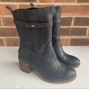 Lucky Brand black leather chunky heel ankle boots